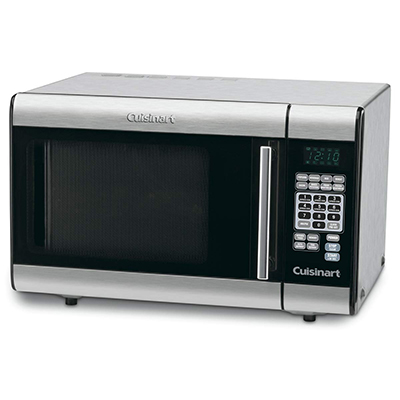 CUISINART<sup>®</sup> 1-Cubic Foot Stainless Steel Microwave Oven - This stainless steel countertop microwave has 1000 watts and 1 cubic-foot interior. Touchpad controls with LCD, 25 preprogrammed settings and 10 power levels. Includes 8 presets with serving-size options, 2 defrost functions, 2-stage cooking operation, 12-inch glass turntable, instructions and recipes.  33.5lbs and 20.50